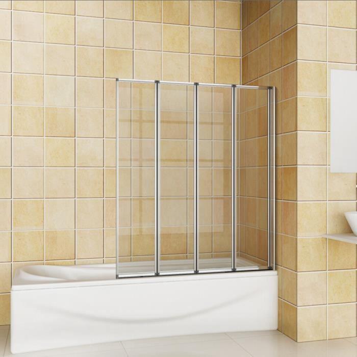 Pare baignoire, écran de baignoire, porte de baignoire, 4 volets pivotants pliants 180°, 4mm verre trempé, 100x140cm