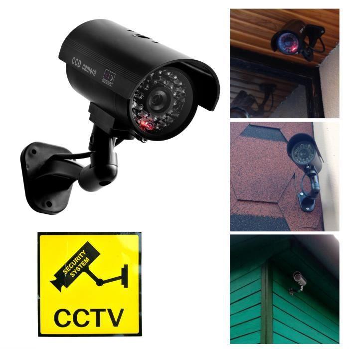 Fausse caméra factice de vidéosurveillance de sécurité de surveillance avec la lumière de LED extérieure imperméable Noir