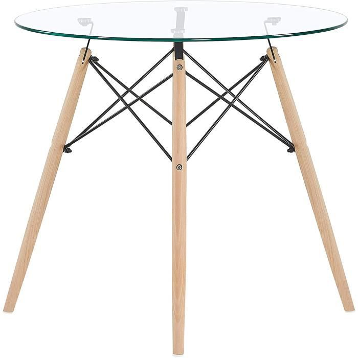 table salle à manger en verre ronde table de cuisine scandinave design, pieds en bois et armature en métal, 80x80x75cm