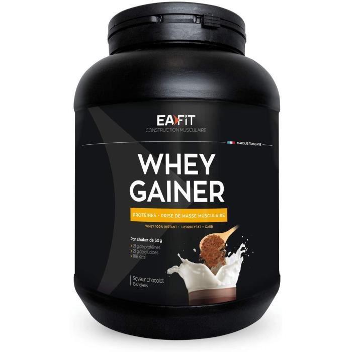 EAFIT WHEY GAINER 750g Chocolat Protéines musculation Whey Prise de masse musculaire optimale Apport calorique -Vitamines Minér 123
