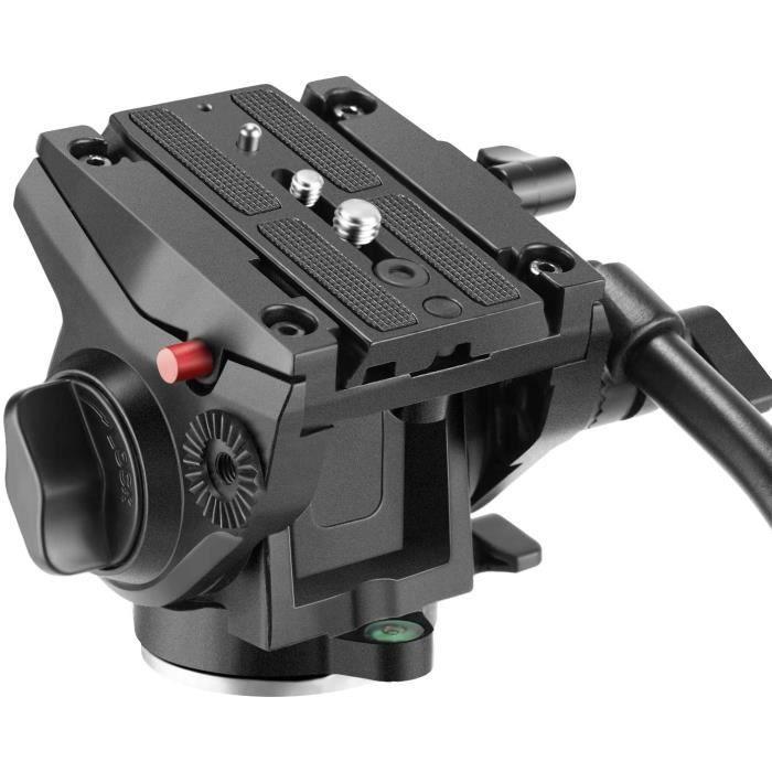 Tête de Trépied Rotule Vidéo Fluide avec Plaque Coulissante Dotée de Vis 1-4 et 3-8 pour Appareil Photo DSLR Vidéo Caméscope Tourn