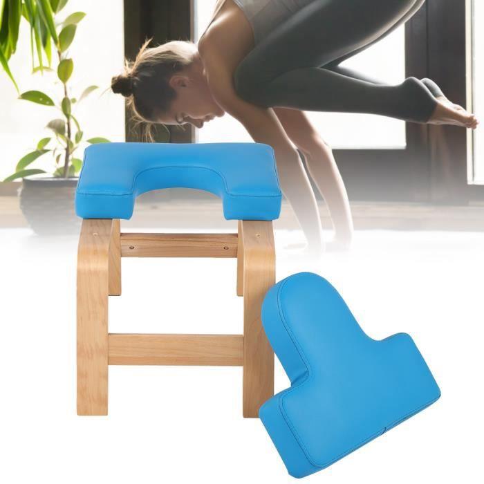 Chaise d'inversion de yoga bleu en bois tabouret à l'envers banc d'exercice de sport (bleu) HB021