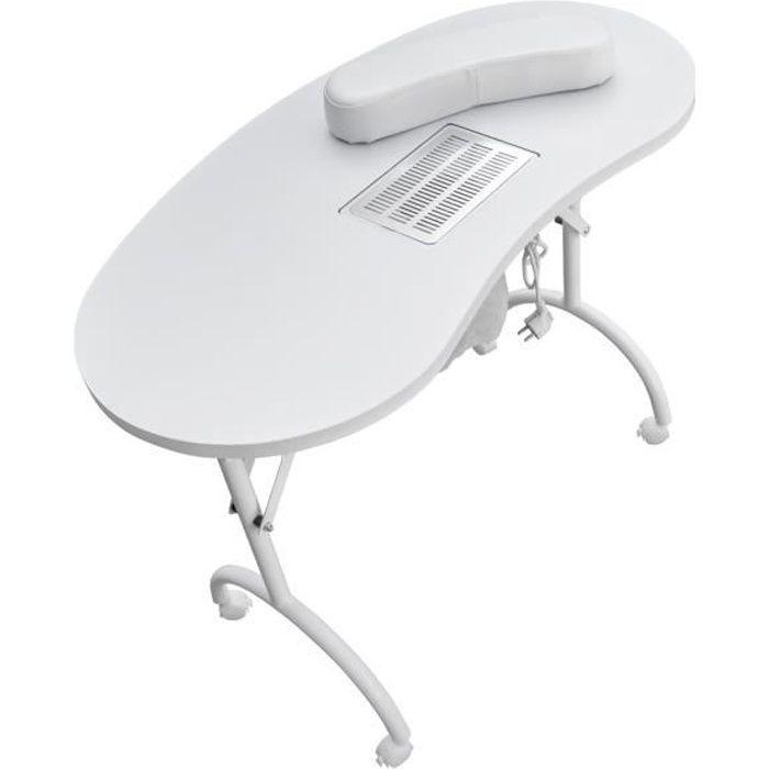 Table manucure pliante avec aspirateur SWAN Blanc