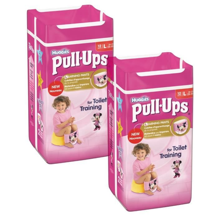 Lot de 2 HUGGIES Pull-Ups Girl Taille 6 - De 16 à 23kg - 12 couches