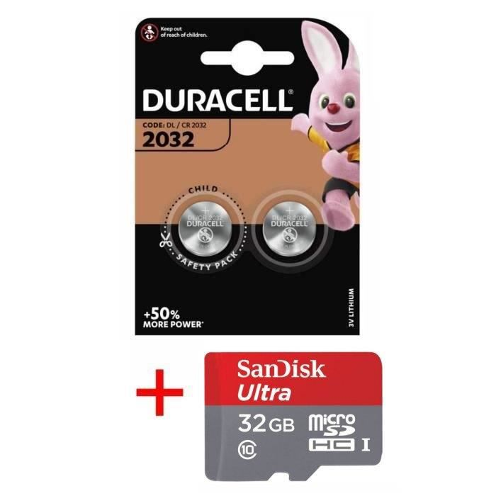 Pile CR2032 DURACELL lot de 2 piles lithium 3V CR 2032 3.0 Volts, pile plate bouton, capacité 180mAh avec étui pour Carte Bancaire