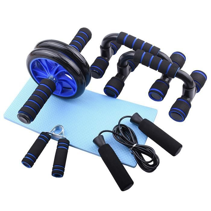 6 PCS Home Gym Fitness Set Abdominal Roller Wheel Push up Bars Main Gripper Jump Rope Genou Pad Pack Kit-672