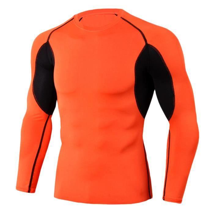 Tee Shirt De Sport Pour Homme Manches Longues Haut De Compression Base Layer Séchage Rapide TC89 S