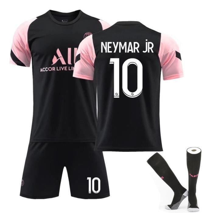 Maillot de Football 2122 Collection de Paris-Neymar 10 Tenue de Training Noir Tenue + Chaussette Dri-FIT Respirant pour Adulte