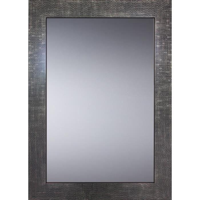 Pradel - Miroir Décoratif Glamour - Cadre Gris Métal - 70 cm x 50 cm (HxL) Gris Métal Foncé