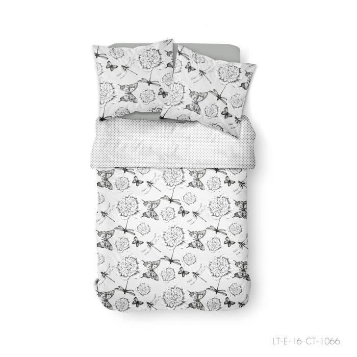 TODAY Parure de lit 2 personnes 240X260 Coton imprime blanc Floral SUNSHINE TODAY