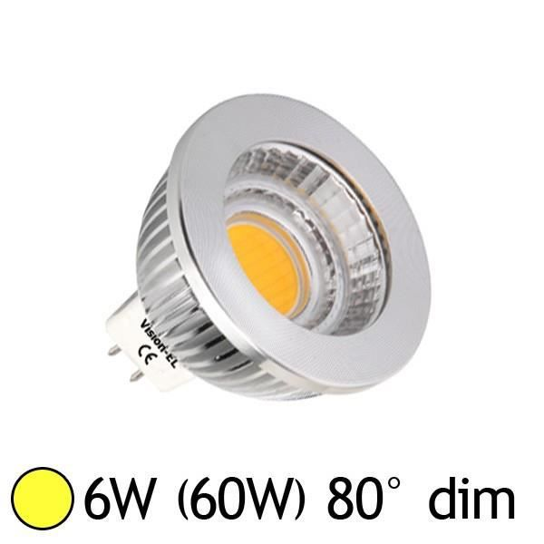 Spot Led 6W (60W) dimmable GU5.3 12V Blanc chaud