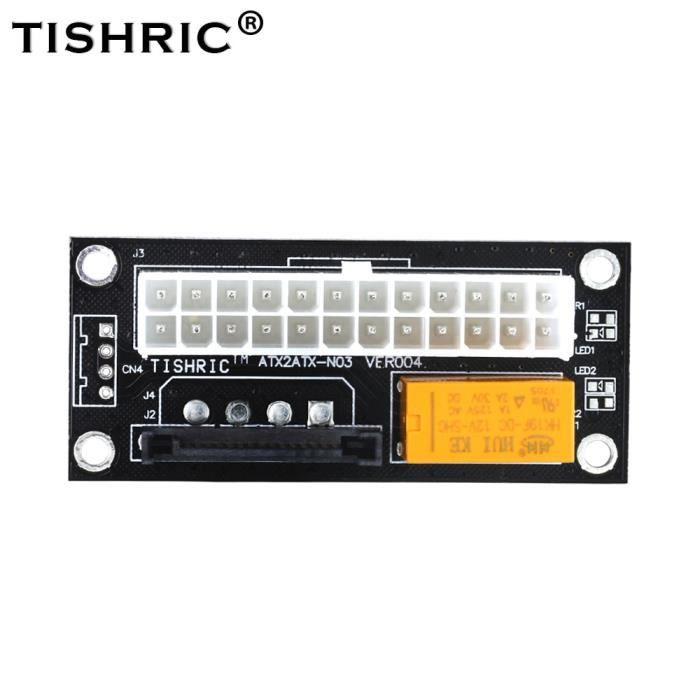 Black SATA-Autre -adaptateur de synchronisation d'alimentation double PSU noir,connecteur synchrone ad2psu ATX 24 broches à 4 broch
