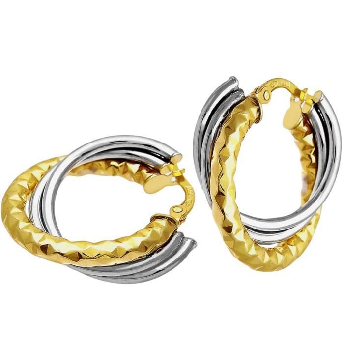 Ril1324yw - Boucles Doreille Femme - Or Bicolore 375-1000 (9 Cts) 1.6 Gr - Verre MMK61