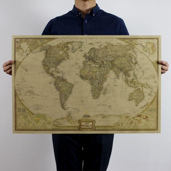 Retro Globe Old World Map Matte Brown Paper Poster Home Decor Wall Art Decor