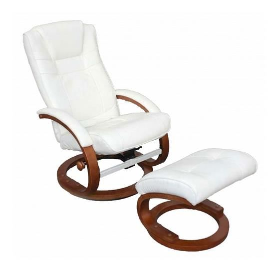 Fauteuil relaxation Pescatori repose pieds blanc Achat Vente