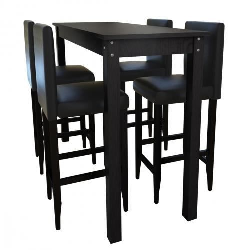 set de 1 table bar et 4 tabourets noir t4tn achat. Black Bedroom Furniture Sets. Home Design Ideas