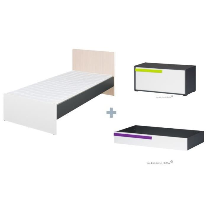 lit 90x200 ado avec tiroir sam violet avec coffre achat. Black Bedroom Furniture Sets. Home Design Ideas