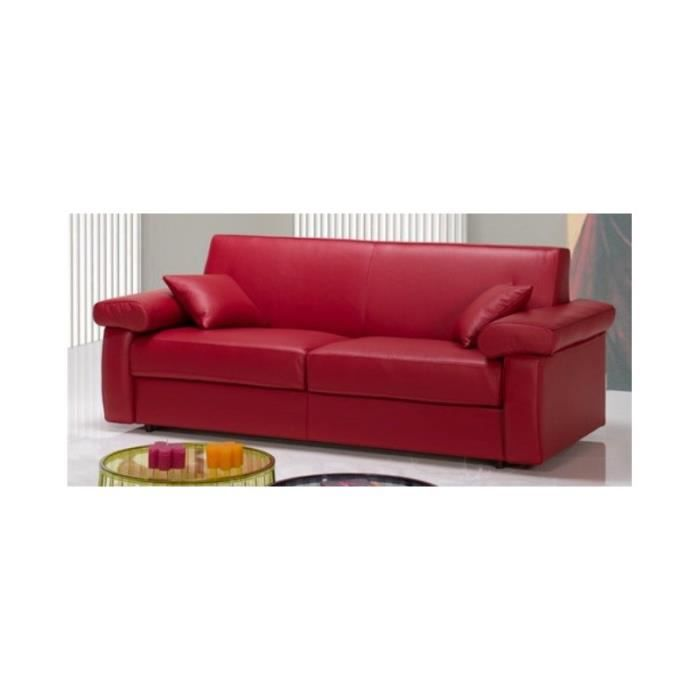 Canape Convertible En Cuir Rouge Red 160 Cm X 190 Cm Rouge Achat Vente Canape Sofa Divan Cdiscount