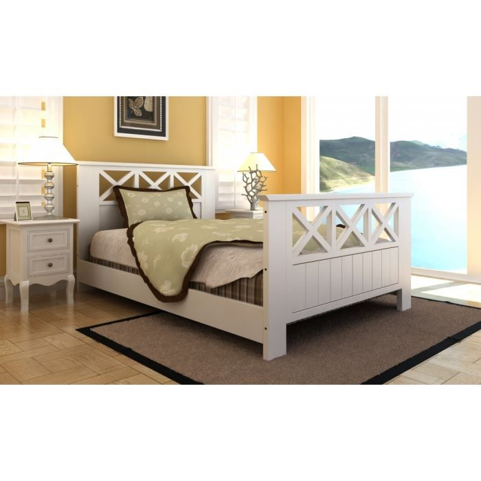 lit en bois blanc 180x200 cm achat vente structure de lit cdiscount. Black Bedroom Furniture Sets. Home Design Ideas