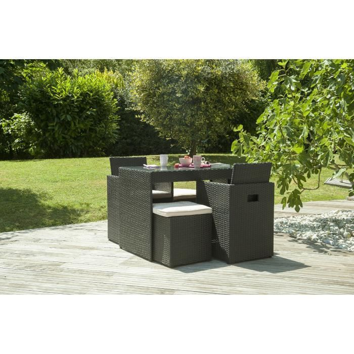 Ensemble encastrable table de jardin 4 places en r sine noir achat vent - Salon jardin 2 places ...