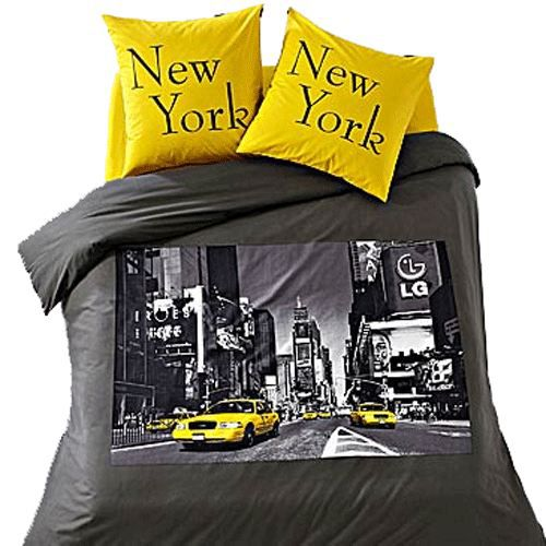 parure de lit new york 2 places achat vente parure de lit cdiscount. Black Bedroom Furniture Sets. Home Design Ideas