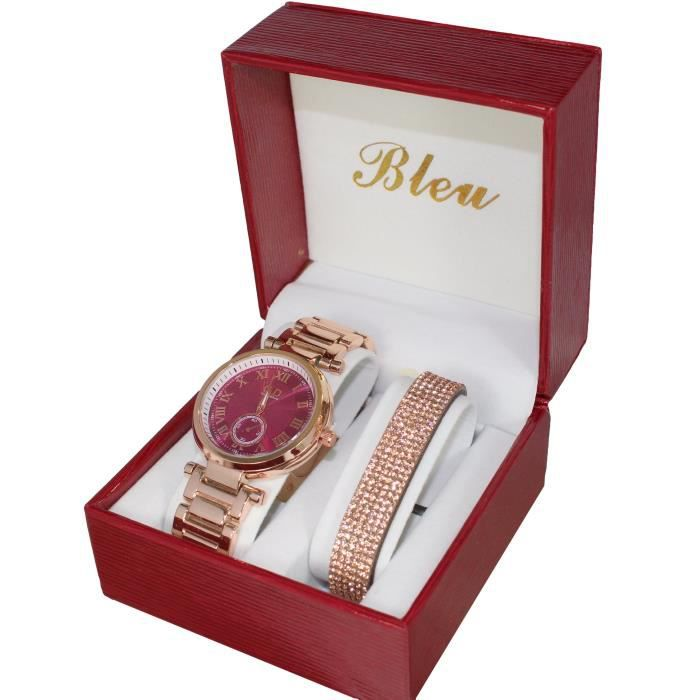 coffret montre femme gd couleur dor rose plus bracelet strass achat vente montre femme. Black Bedroom Furniture Sets. Home Design Ideas