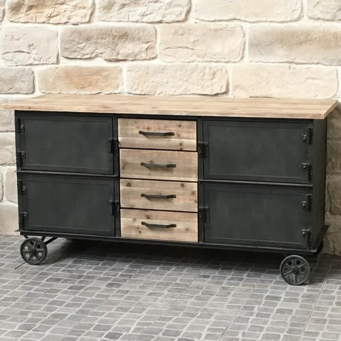 bahut buffet meuble roulettes industriel campagne fer et bois achat vente buffet bahut. Black Bedroom Furniture Sets. Home Design Ideas