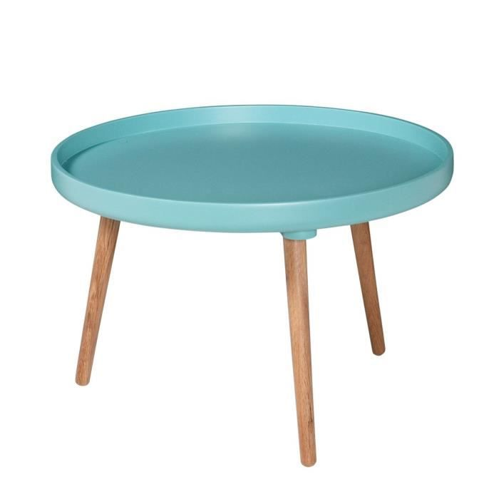 Table basse ronde kompass 55 basse couleur turquoise - Table basse bleu ...