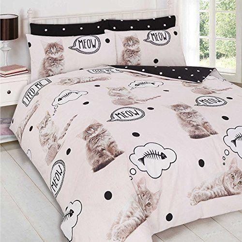 Dreamscene Parure de lit avec housse de couette taie doreiller Parure de lit imprim/é animal Meow d/écoratif chaton Cr/ème/ /Simple