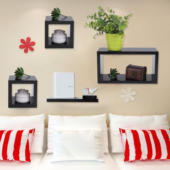 tag re murale design tag re murale cube lot de 4. Black Bedroom Furniture Sets. Home Design Ideas