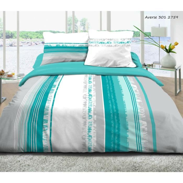 parure housse de couette averse turquoise 57 fils 100 coton sensei la maison du coton. Black Bedroom Furniture Sets. Home Design Ideas