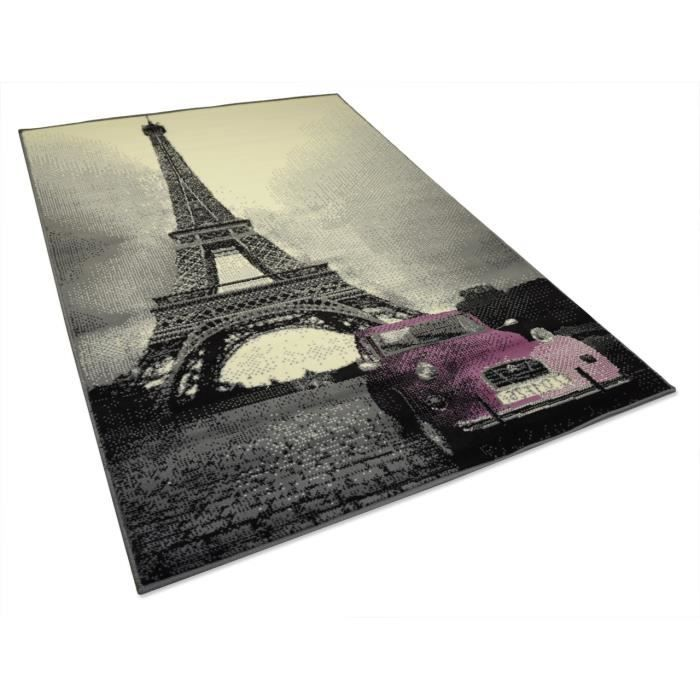tapis salon tour eiffel paris gris rose universol achat vente tapis cdiscount. Black Bedroom Furniture Sets. Home Design Ideas