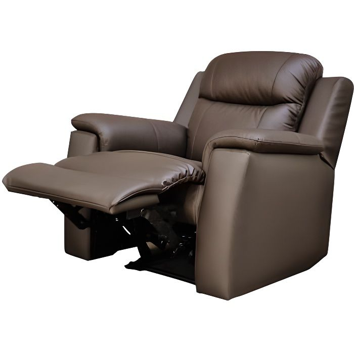 fauteuil relax evasion en cuir chocolat achat vente fauteuil marron cdiscount. Black Bedroom Furniture Sets. Home Design Ideas