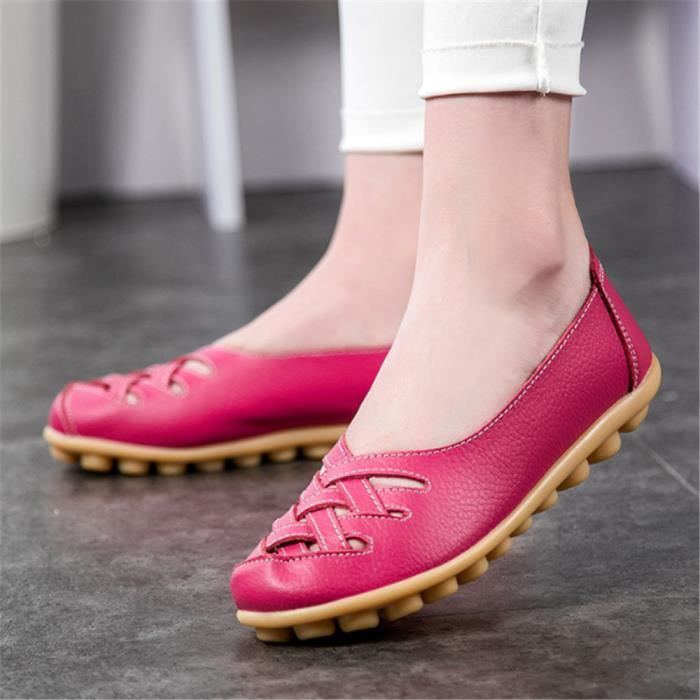 Femmes Chaussures plate Grande Taille Cuir Mode Casual Filles Respirant Confortable Appartements Solides Mère Chaussures Respirantes