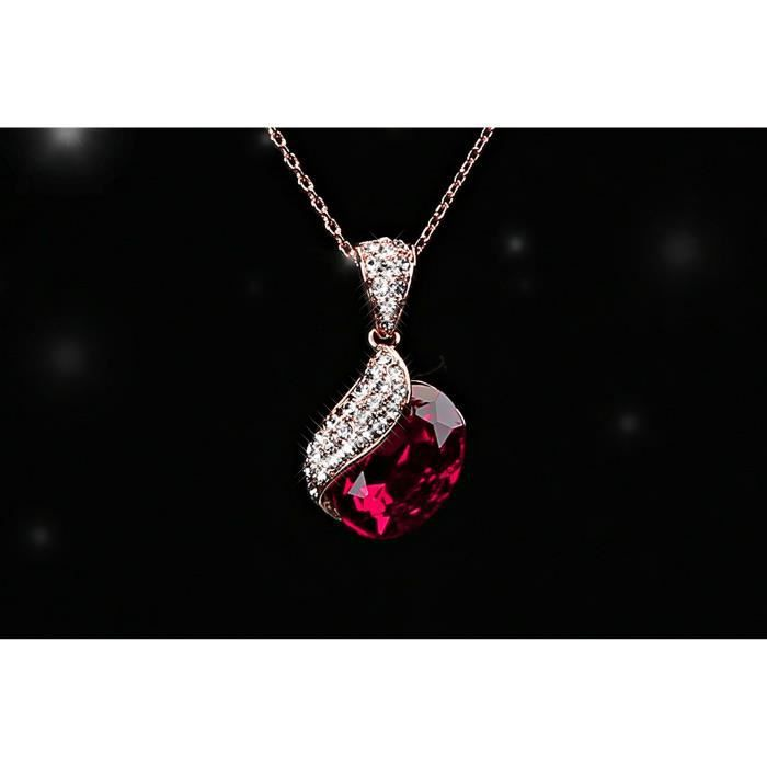 Womens Ruby Necklaces, Rose Gold Chain Fashion Pendants With Cubic Zironia For Or Gift(red) EA6VT