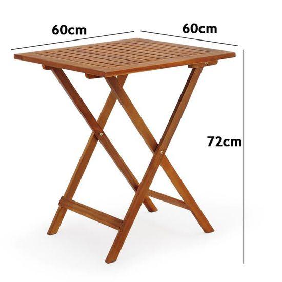 Ensemble table et chaises 3 pcs balcon pliable Salon de jardin en bois  d\'acacia