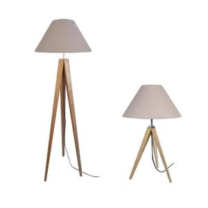 lampe trepied bois achat vente lampe trepied bois pas cher cdiscount. Black Bedroom Furniture Sets. Home Design Ideas