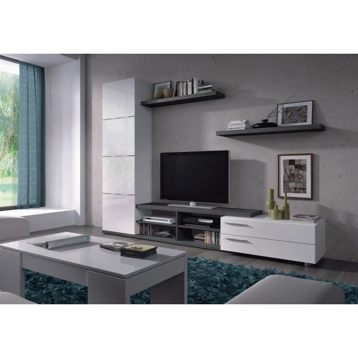 meuble tv mural 240 cm blanc gris adhara salon salle manger bon prix moncornerdeco. Black Bedroom Furniture Sets. Home Design Ideas