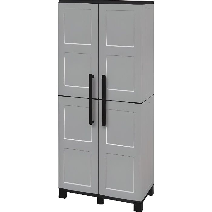 sogenex armoire de rangement haute en r sine 3 tablettes avec porte balai achat vente etabli. Black Bedroom Furniture Sets. Home Design Ideas