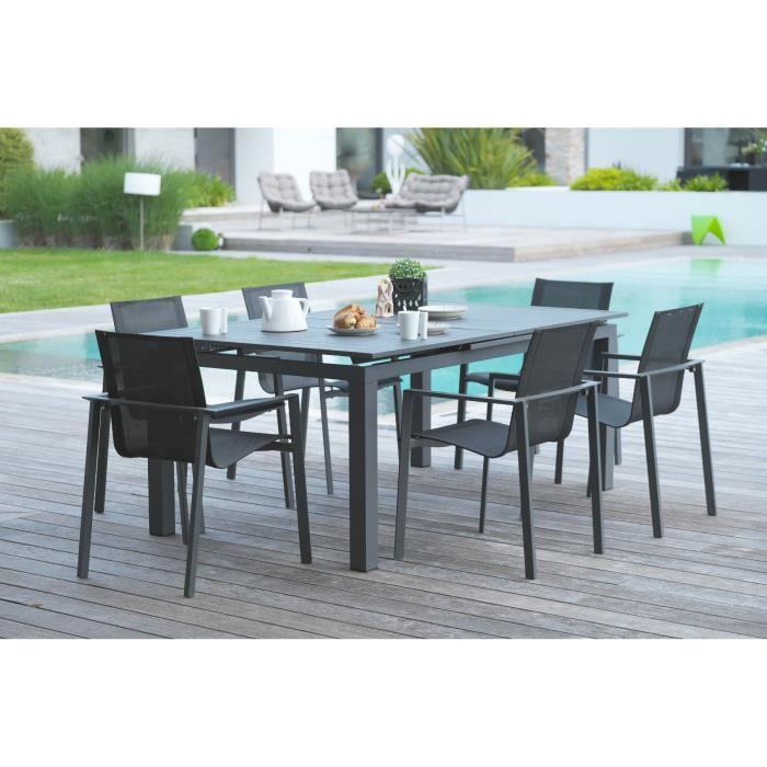 DCB GARDEN Table Miami en aluminium avec rallonge automatique + 6 fauteuils textilène - 180-240 x 100 cm - Gris anthracite
