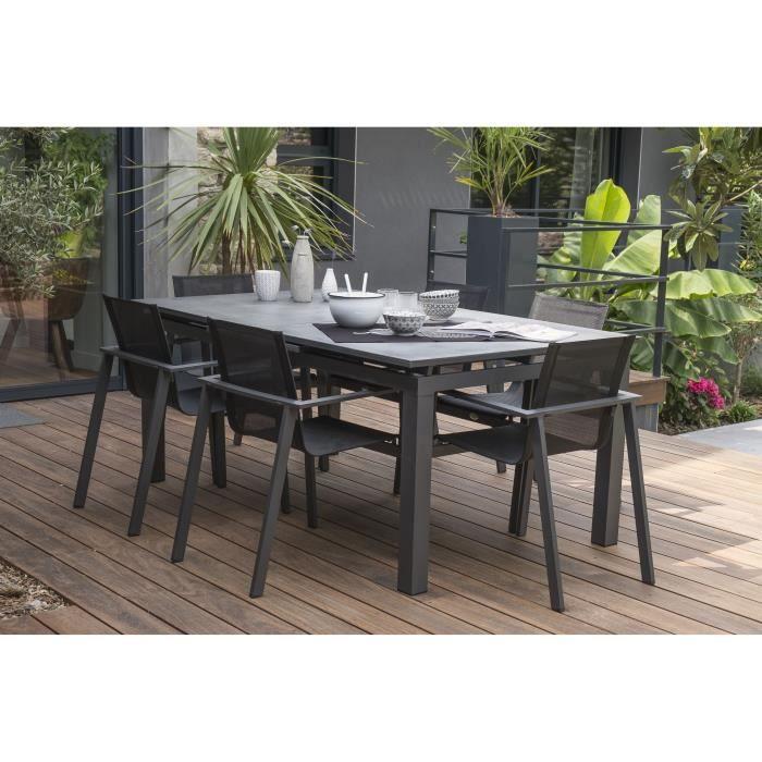 DCB GARDEN Table Miami aluminium et verre avec rallonge automatique + 6 fauteuils Miami - 180-240 x 100 cm - Gris anthracite