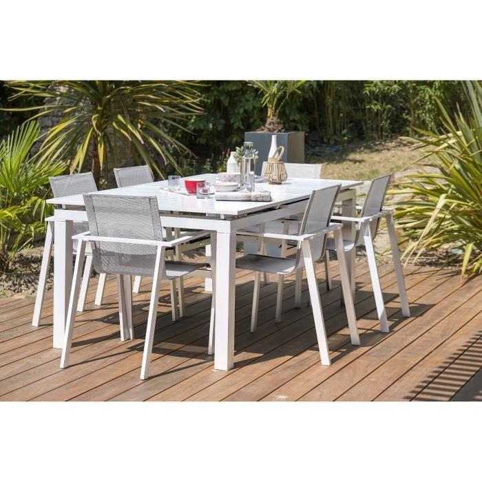 DCB GARDEN Table Mykonos-TB240 + 6 fauteuils Mykonos-FT - Blanc