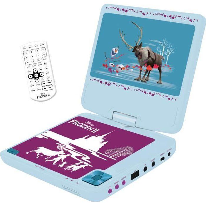 """LA REINES DES NEIGES Lecteur DVD portable enfant écran LCD 7"""" LEXIBOOK - batterie rechargeable"""