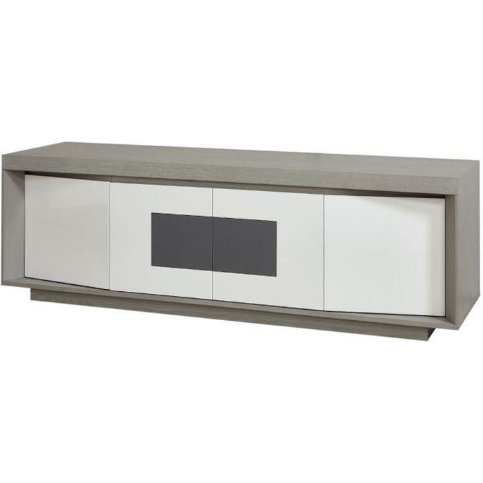 PLYMOUTH Meuble TV LED contemporain laqué blanc et placage bois chêne gris + insert en céramique gris - L 160 cm
