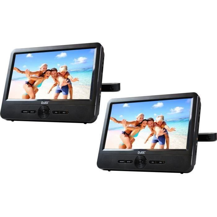 D-JIX PVS 706-50SM Lecteur DVD portable 7- Double écran + Supports appui-tête