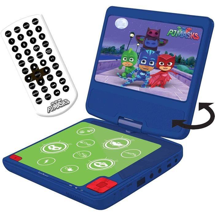 """PYJAMASQUES Lecteur DVD portable enfant écran LCD 7"""" LEXIBOOK - batterie rechargeable"""