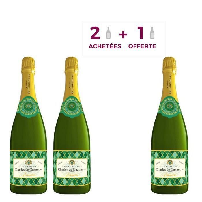 2 achetées + 1 offerte - Champagne Charles de Cazanove Arlequin Demi-sec