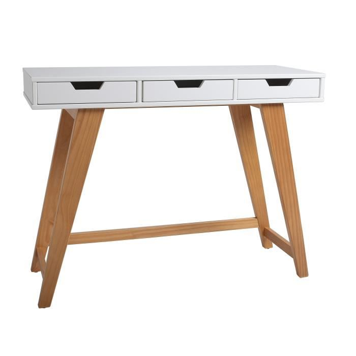 olivia console scandinave en mdf et bois massif laqu blanc mat 101 cm achat vente console. Black Bedroom Furniture Sets. Home Design Ideas