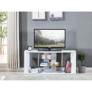 MEUBLE TV Meuble TV en bois décor sonoma blanc - Etagére en