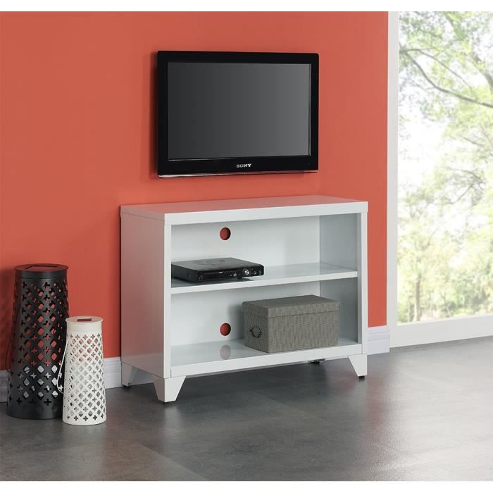 camden meuble tv en m tal 80 cm blanc laqu achat vente meuble tv camden meuble tv cdiscount. Black Bedroom Furniture Sets. Home Design Ideas